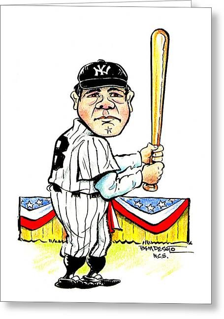 American Pastime Drawings Greeting Cards - Babe Ruth Greeting Card by Ben De Soto