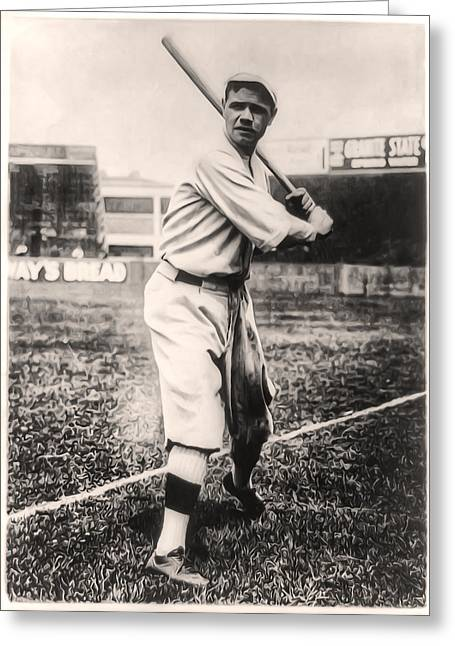 Athletes Digital Greeting Cards - Babe Ruth Greeting Card by Digital Reproductions