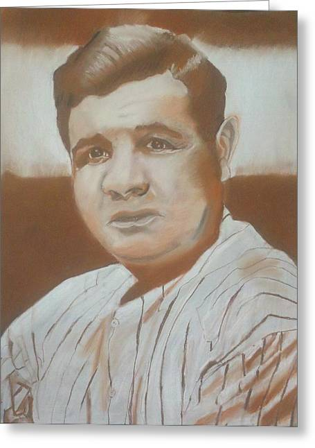 All Star Pastels Greeting Cards - Babe Ruth Drawing Greeting Card by Andrew Marks