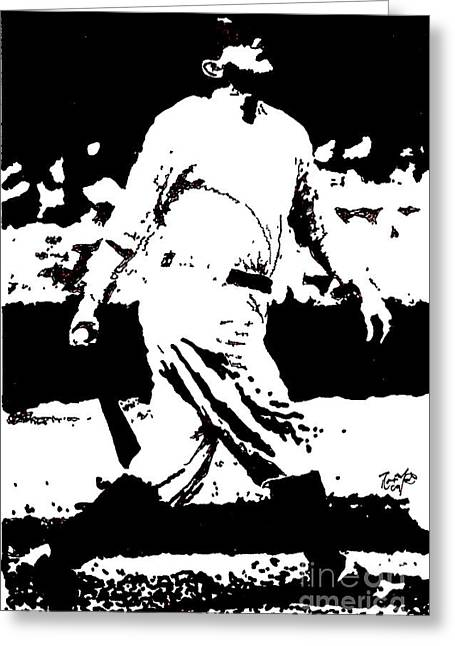 Ny Yankees Drawings Greeting Cards - Babe Ruth drawing Greeting Card by Rob Monte