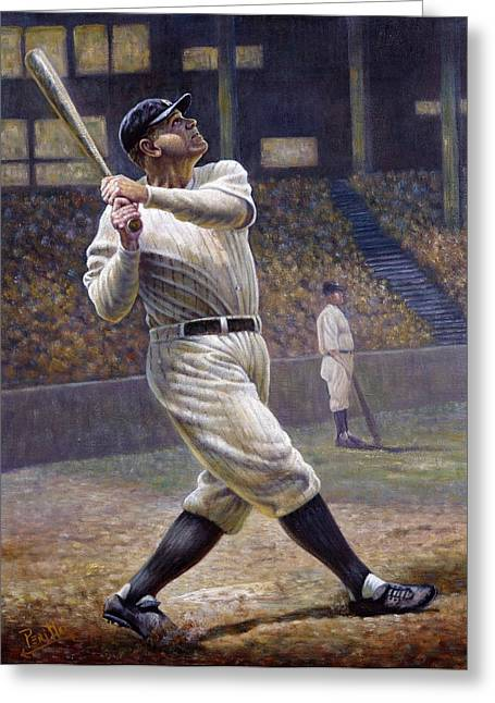 Famous Photographers Digital Art Greeting Cards - Babe Ruth Greeting Card by Gregory Perillo