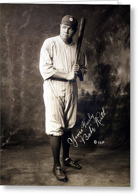 Autographed Baseball Greeting Cards - Babe Ruth Greeting Card by Jo Ann
