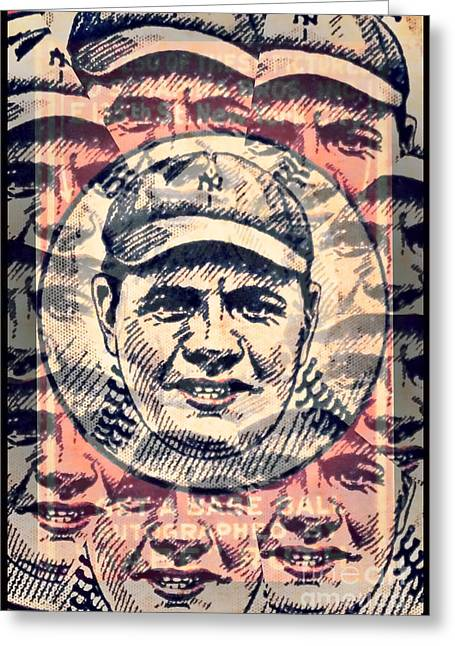 Babe Ruth Posters Greeting Cards - Babe Ruth Greeting Card by Kerry Gergen