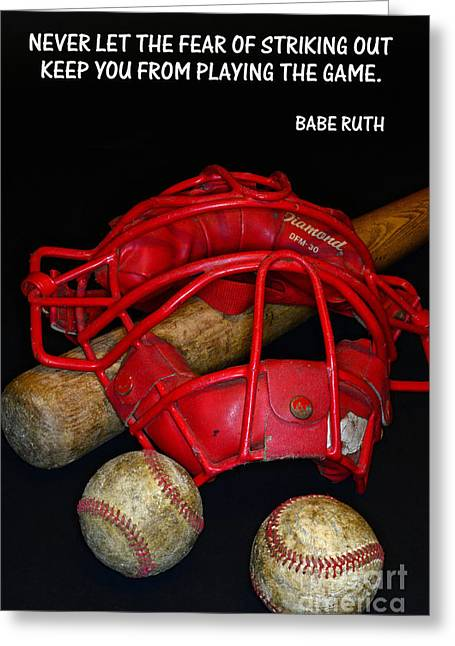 Baseball Bat Greeting Cards - Babe Ruth on Baseball. Greeting Card by Paul Ward