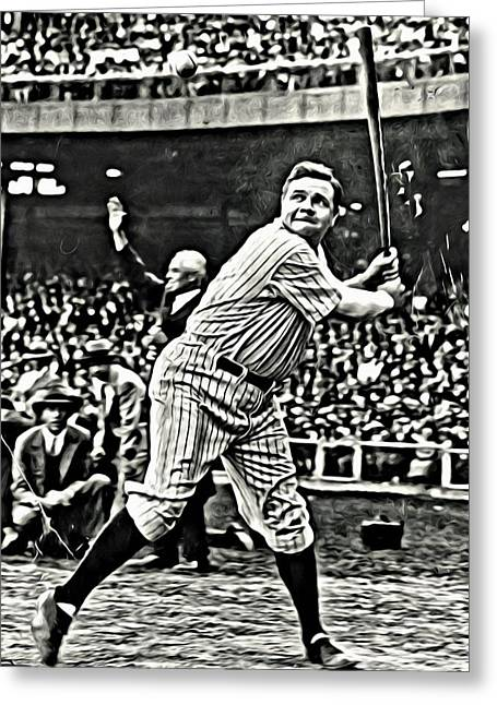 Babe Ruth Posters Greeting Cards - Babe Ruth Painting Greeting Card by Florian Rodarte