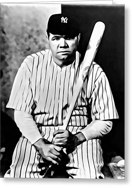 Babe Ruth Posters Greeting Cards - Babe Ruth Portrait Painting Greeting Card by Florian Rodarte