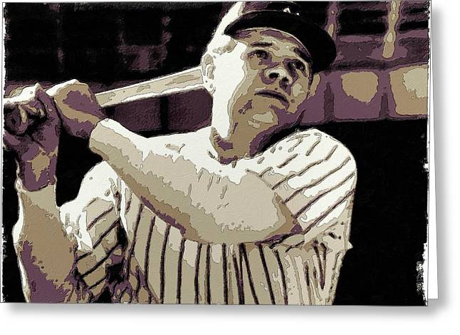 Babe Ruth Posters Greeting Cards - Babe Ruth Poster Art Greeting Card by Florian Rodarte