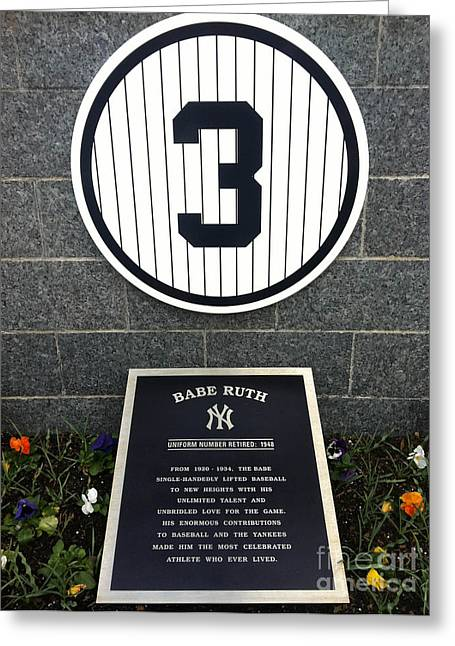 Numbers Greeting Cards - Babe Ruth Tribute Yankee Stadium Greeting Card by Amy Cicconi