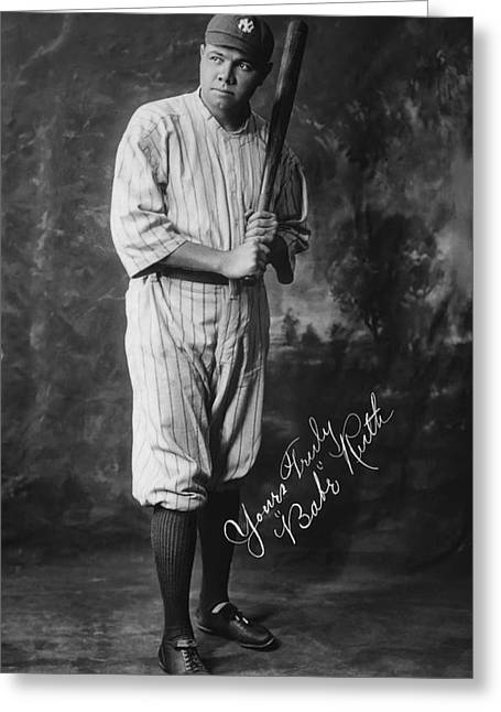 Boston Red Sox Greeting Cards - BABE The Sultan of Swat RUTH  1920 Greeting Card by Daniel Hagerman