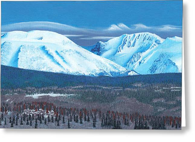 Snow-covered Landscape Greeting Cards - Babine Mountain Range Greeting Card by Stanza Widen