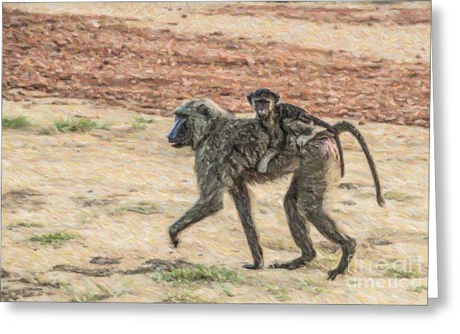 East Africa Greeting Cards - Baboon Mother and Baby Greeting Card by Liz Leyden