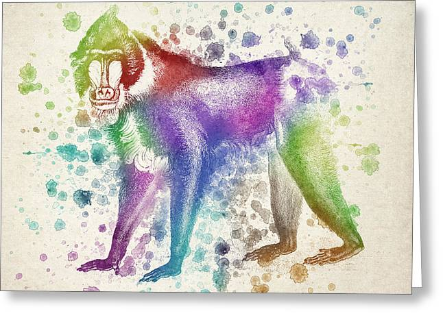 Patch Greeting Cards - Baboon Splash Greeting Card by Aged Pixel
