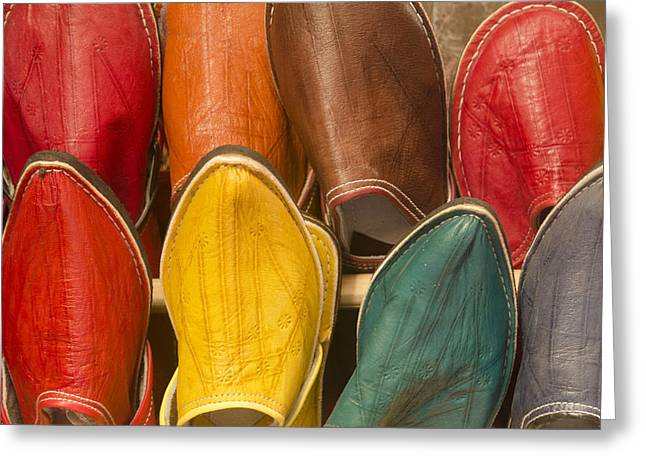 Babouches Greeting Cards - Babouche slippers Fes Morocco Greeting Card by Martin Turzak
