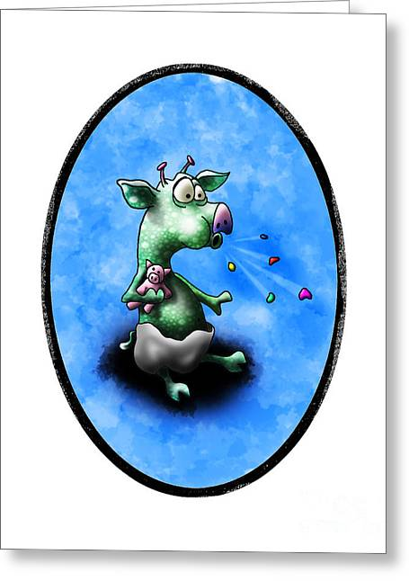 Space Themed Nursery Greeting Cards - Baby Alien Pig Spits Greeting Card by Star  Mudersbach