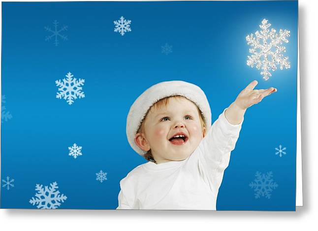Half Elf Greeting Cards - Baby And Snowflakes Greeting Card by Kelly Redinger