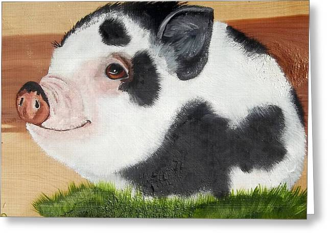 Potbelly Pig Greeting Cards - Baby Bacon Greeting Card by Debbie LaFrance