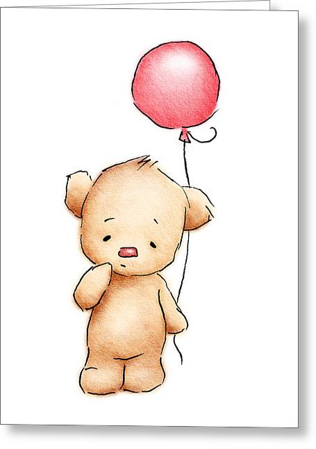 Animals Love Drawings Greeting Cards - Baby Bear With Red Balloon Greeting Card by Anna Abramska