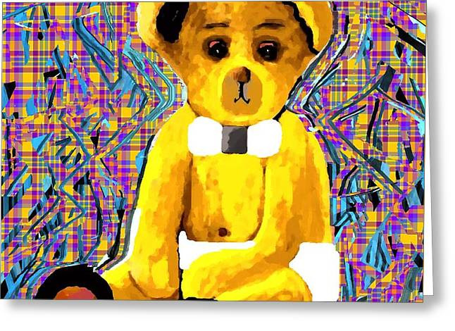 Bears Tapestries - Textiles Greeting Cards - Baby Beca Bear in Pinks Greeting Card by Claire Masters