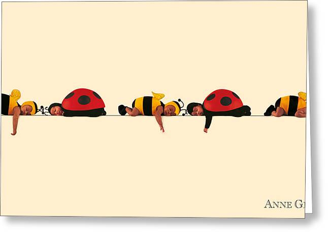 Babies Greeting Cards - Baby Bees and Lady Bugs Greeting Card by Anne Geddes