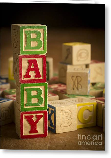 Spelled Greeting Cards - Baby Blocks Greeting Card by Edward Fielding