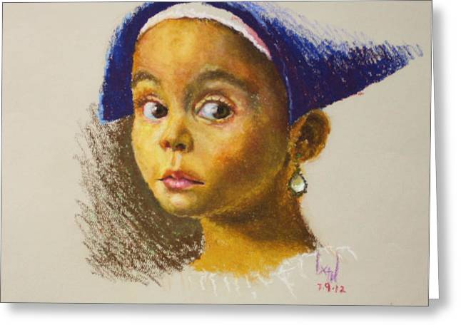 Portraitist Greeting Cards - Baby Blue Greeting Card by Anthony  Baxton