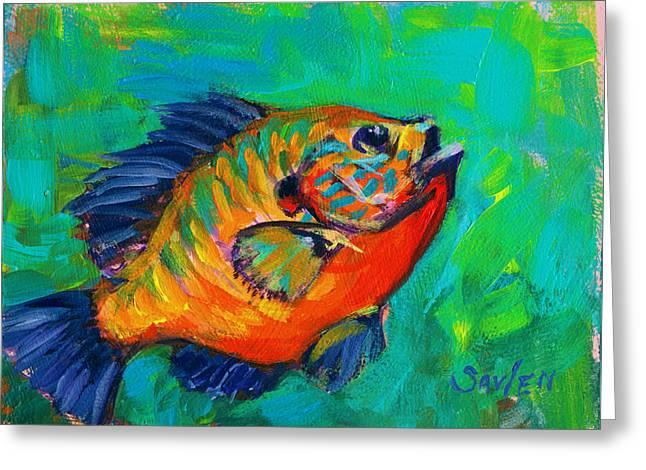 Bluegills Greeting Cards - Baby Blue - Bluegill Study Greeting Card by Mike Savlen