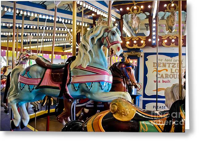 Hand Carved Greeting Cards - Baby Blue Painted Pony - Carousel Greeting Card by Colleen Kammerer