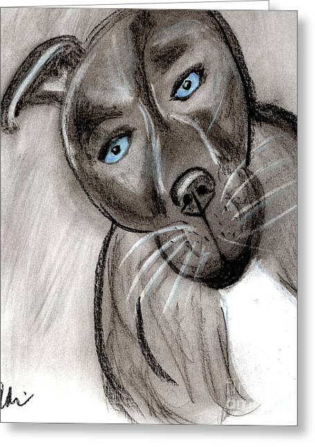 Doggy Pastels Greeting Cards - Baby Blue Puppy Eyes Greeting Card by Adri Turner