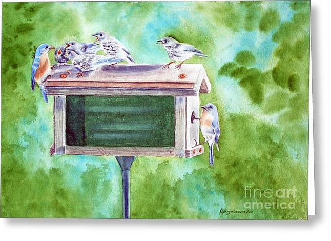 Baby Blues - Eastern Bluebird Family Greeting Card by Kathryn Duncan