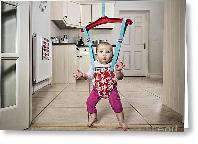 Bouncer Greeting Cards - Baby Bouncer Greeting Card by Justin Paget