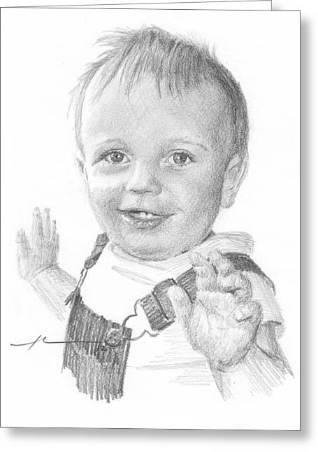 Overalls Drawings Greeting Cards - Baby Boy In Overalls Pencil Portrait Greeting Card by Mike Theuer