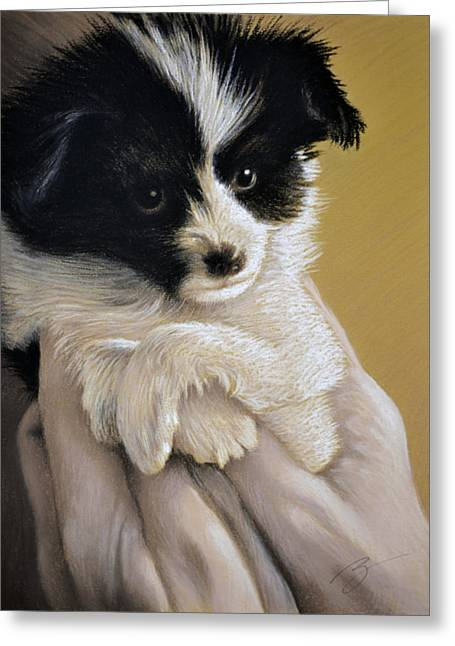 Puppies Pastels Greeting Cards - Baby Boy - Pastel Greeting Card by Ben Kotyuk