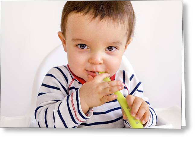 Baby Boy Playing With A Spoon Greeting Card by Aj Photo