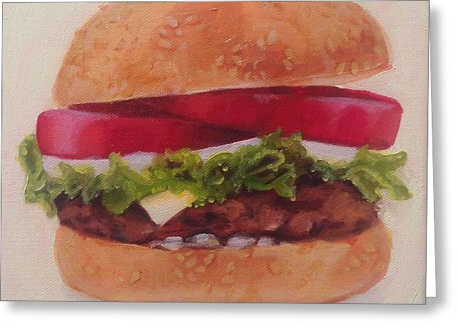 Cheeseburger Paintings Greeting Cards - Baby Burger Greeting Card by Violet Loy
