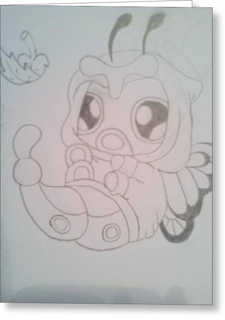 Hoodies Drawings Greeting Cards - Baby Caterpie dressed as a Butterfree Greeting Card by Katelyn Biles