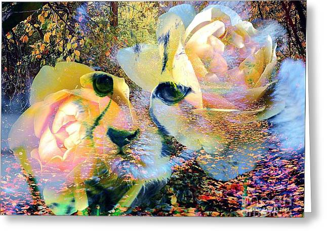 Unique Art Greeting Cards - Baby Cheetah And Roses In Wilderness Greeting Card by Annie Zeno