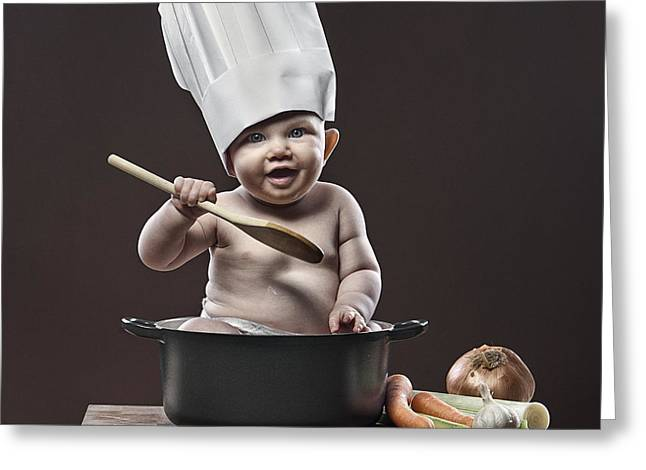 Baby Chef Greeting Card by Justin Paget