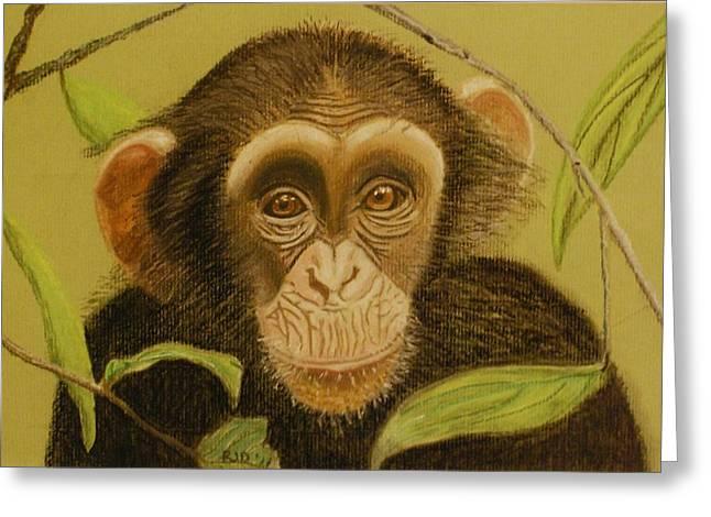 Chimpanzee Pastels Greeting Cards - Baby Chimpanzee Greeting Card by Rosalind Duffy