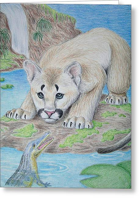 Alga Drawings Greeting Cards - Baby Cougar and Alligator Greeting Card by Jeanette K