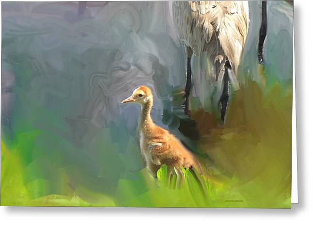 White River Scene Mixed Media Greeting Cards - Baby Crane and Mom Greeting Card by Lenore Senior and Sharon Burger