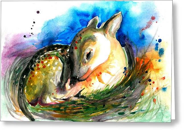 Enfants Paintings Greeting Cards - Baby Deer Sleeping - After my original watercolor on heavy paper Greeting Card by Tiberiu Soos