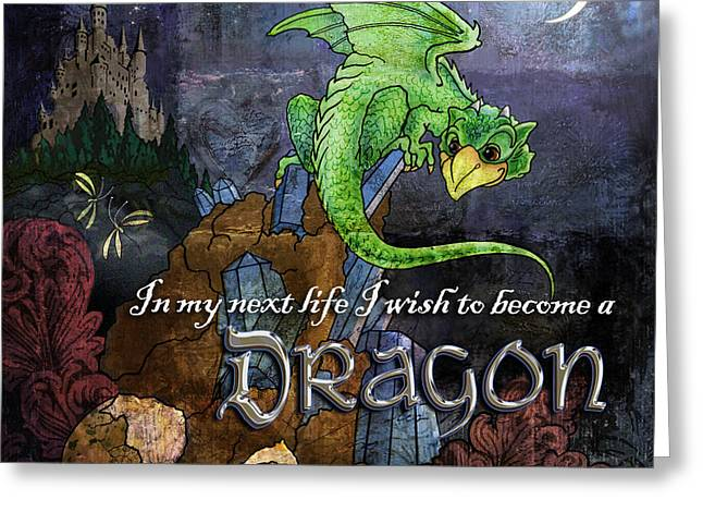 Recently Sold -  - Fantasy Tree Greeting Cards - Baby Dragon Greeting Card by Evie Cook