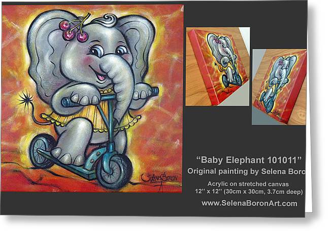 Australian Gold Coast Artist Greeting Cards - Baby Elephant 101011 Comp Greeting Card by Selena Boron
