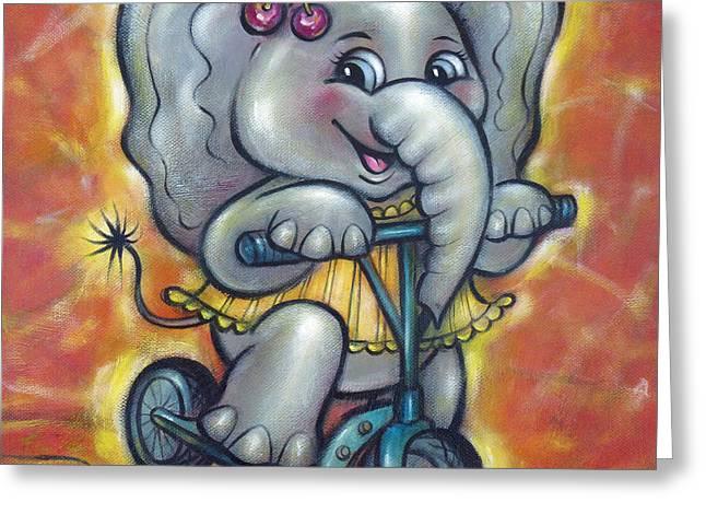 Australian Gold Coast Artist Greeting Cards - Baby Elephant 101011 Greeting Card by Selena Boron
