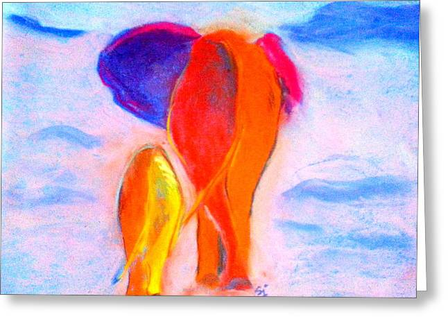 Loose Greeting Cards - Baby Elephant and Mom Greeting Card by Sue Jacobi