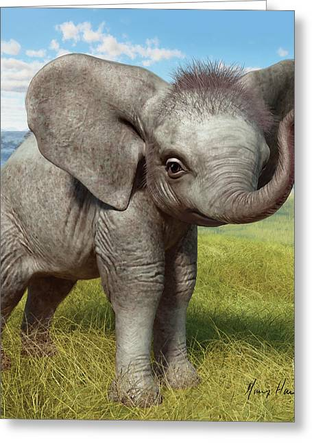 African Elephants Greeting Cards - Baby Elephant Greeting Card by Gary Hanna