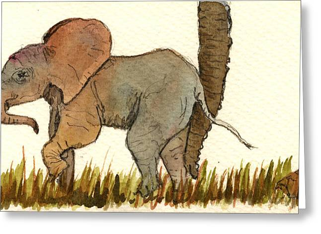 Juan Greeting Cards - Baby elephant Greeting Card by Juan  Bosco