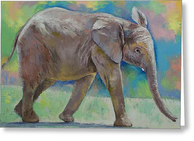 Announcement Greeting Cards - Baby Elephant Greeting Card by Michael Creese