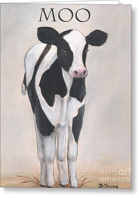 Moos Print Greeting Cards - Baby Farm Animal Calf Moo Greeting Card by Debbie Cerone