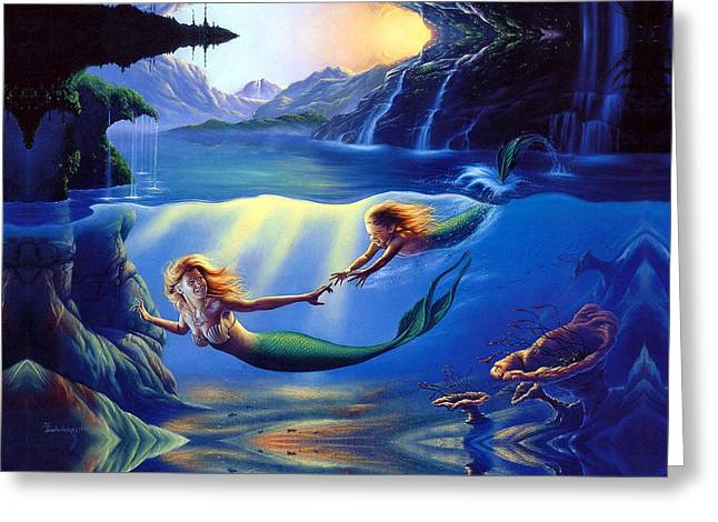 Sleeping Mermaid Greeting Cards - Baby for all my life Greeting Card by Raphael  Sanzio